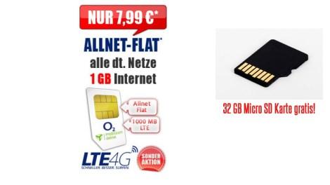 comfort Allnet Flat 1 GB LTE 7.99€ mtl.