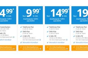 4 GB LTE + Allnet Flat + monatlich kündbar nur 14,99€ mtl.
