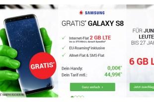 Samsung Galaxy S8 mit 2GB LTE und Allnet Flat für nur 44,99€ mtl.