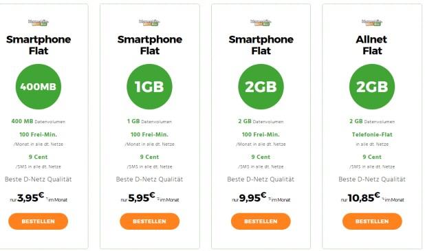 Klarmobil mit 2GB und Allnet Flat für nur 10,85€ mtl.