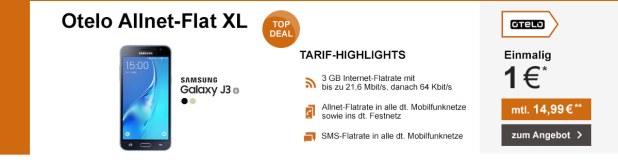 Otelo XL Tarif mit 3 GB und dem Galaxy J3 nur 14,99€ mtl.