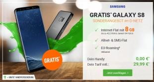 Galaxy S8 mit 8GB Internet nur 29,99€ mtl.