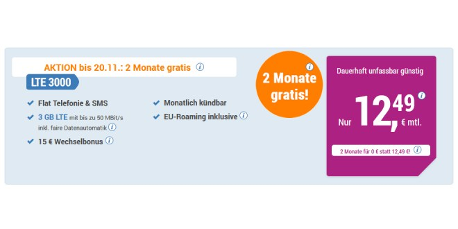 3 GB LTE mit Allnet nur 12,49€ mtl. - 2 Monate gratis
