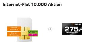 Saturn Coupon 275€ + Internet Flat 10 GB LTE nur 19,99€ mtl.