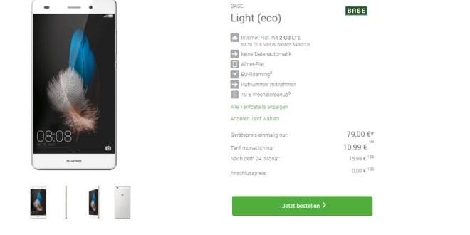 Huawei P8 Lite mit 2GB LTE und Allnet nur 10,99€ mtl.