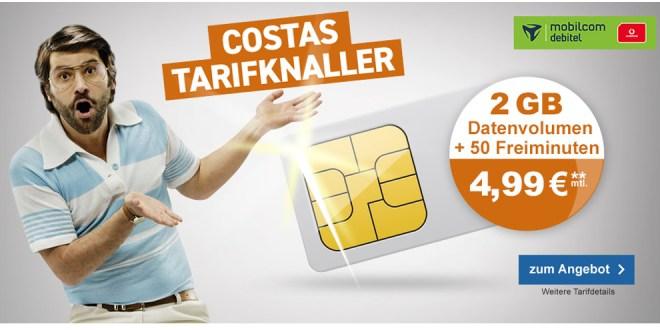 2 GB Internet mit 50 Min und 50 SMS nur 4,99€ mtl.