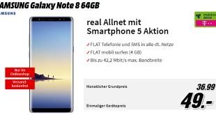 Galaxy Note 8 mit 4 GB und Allnet Telekom nur 36,99€ mtl.