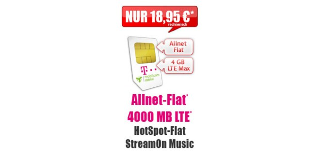 Telekom MagentaMobil S Young Aktion mit 4GB LTE nur 18,95€ mtl.