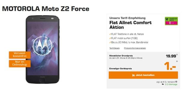 MOTOROLA Moto Z2 Force mit Allnet und 1GB nur 19,99€ mtl.