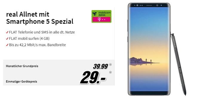 Galaxy Note 8 mit 4 GB und Allnet Telekom nur 39,99€ mtl.