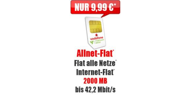 Vodafone Allnet-Flat + 2000 MB nur 9,99€