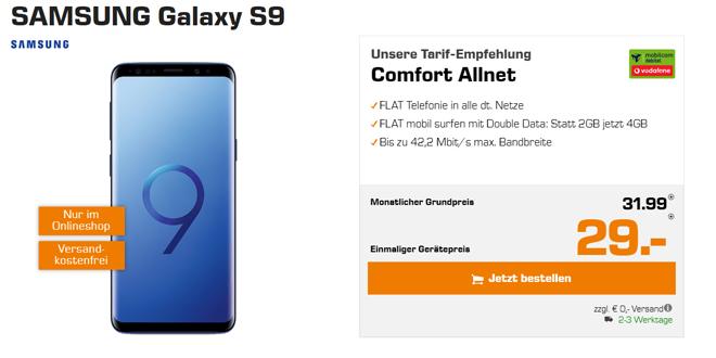 Galaxy S9 mit 4 GB Internet nur 31,99€ mtl.