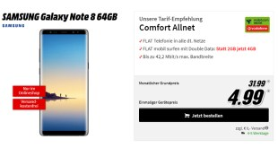 Galaxy Note 8 mit 4 GB Daten und Allnet nur 31,99€ mtl.