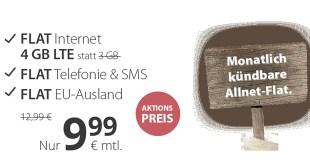4GB LTE + Allnet + EU + monatlich kündbar nur 9,99€ mtl.