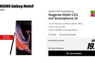 Galaxy Note9 mit 2,5 GB LTE Telekom nur 46,95€ mtl.