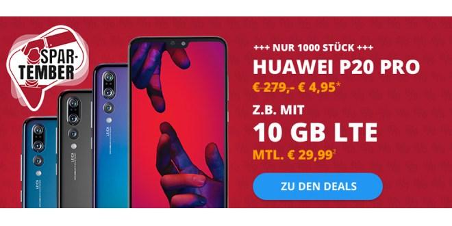 Huawei P20 Pro mit 10 GB LTE nur 29,99€ mtl.