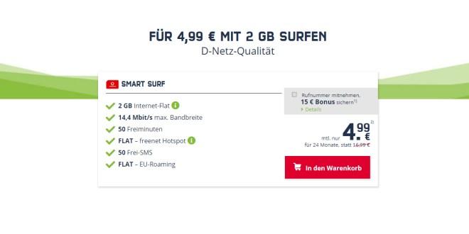 FÜR 4,99 € MIT 2 GB SURFEN - D-Netz