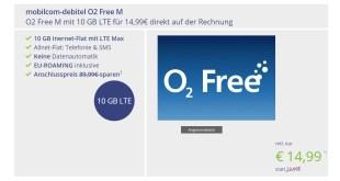 o2 Free M 10 GB LTE für 14,99€