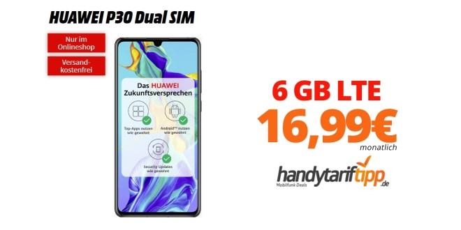 HUAWEI P30 mit 6 GB LTE im Telekom oder Vodafone Netz nur 16,99€