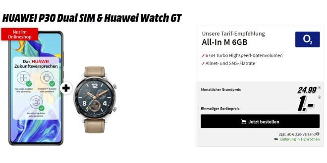 HUAWEI P30 & Watch GT mit 6 GB LTE nur 24,99€