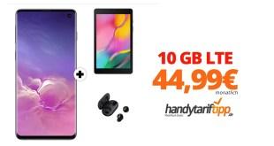 Galaxy S10 & Galaxy Tab A & Galaxy Buds mit 10 GB LTE nur 44,99€