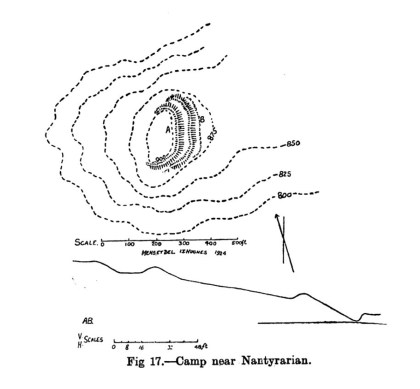 Cynllun safle Gwersyll ger Nantyrarian
