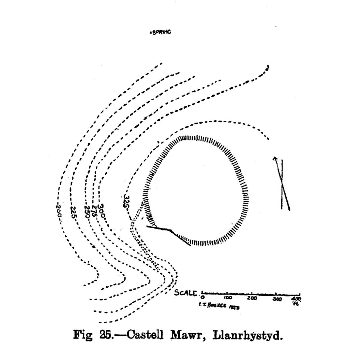 Cynllun y safle Castell Mawr Llanrhystyd
