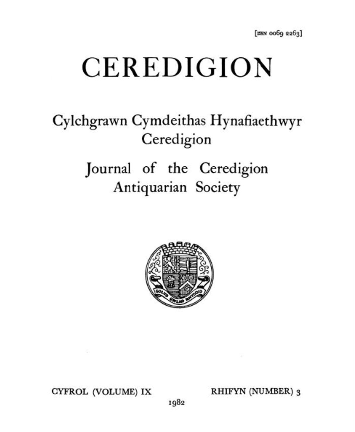 Ceredigion – Journal of the Cardiganshire Antiquarian Society, 1982 Vol IX No 3