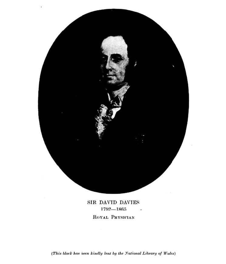 Syr David Davies 1792-1865 Meddyg Brenhinol