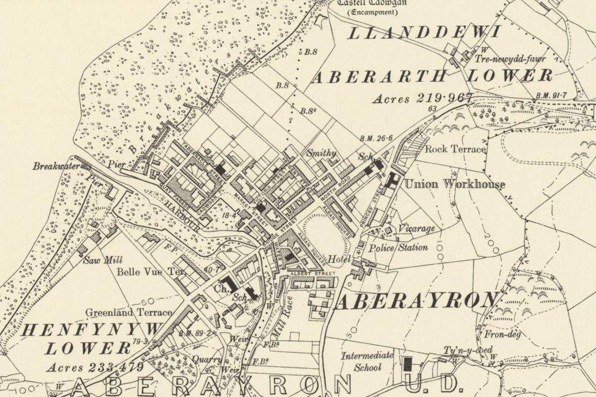 Mapio Hanesyddol Aberaeron - OS Six Inch, 1888-1913, Atgynhyrchwyd gyda chaniatâd Llyfrgell Genedlaethol yr Alban
