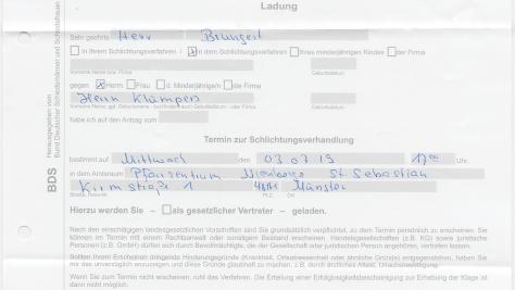 Einladung zur Schlichtungsverhandlung – Persilschein Stalker will sich juristisch durchsetzen!