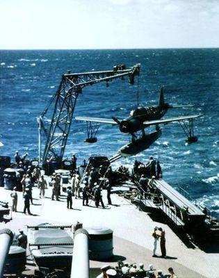 Battleship USS Missouri recovers a Kingfisher during its shakedown cruise, 1944