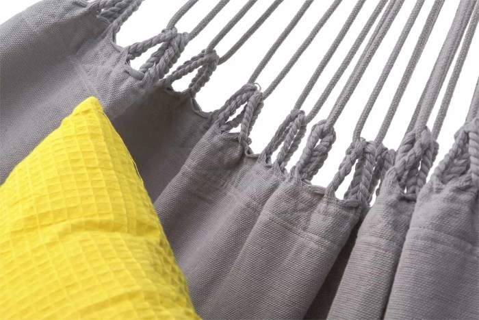 hangmat met franje   licht grijs   2-persoons   BIO katoen (GOTS)   ecomundy romance XL 380