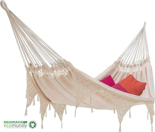 hangmat met franje   boho stijl   naturel BIO katoen   ecomundy ibiza XL 380