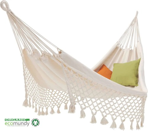 witte hangmat met franje | naturel BIO katoen | GOTS | ecomundy romance XL 360