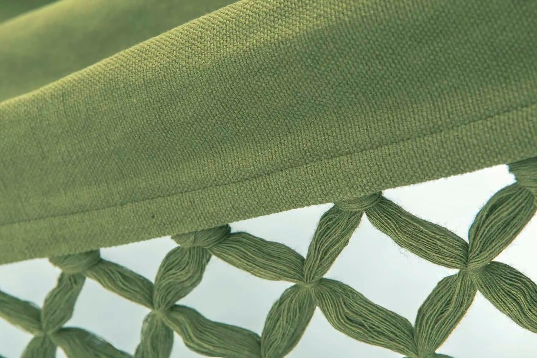 groene hangmat met franje | BIO katoen | GOTS | ecomundy romance XL 360