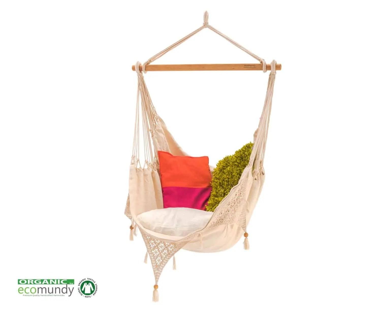 luxe hangstoel met franje | handgeweven | naturel BIO katoen | ecomundy ibiza chair