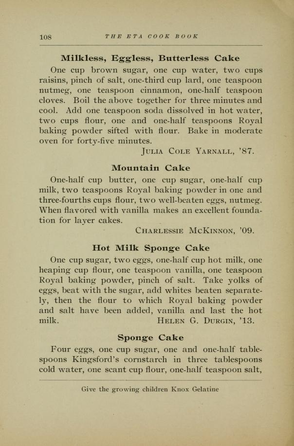 Milkless Eggless Butterless Cake Recipe from 1917