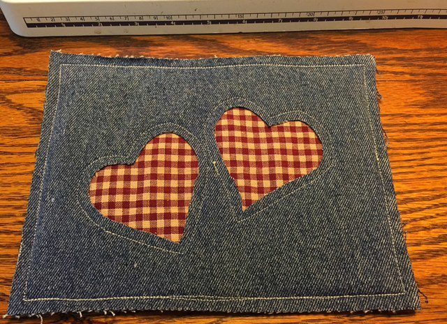 Homemade Potholder with Hearts