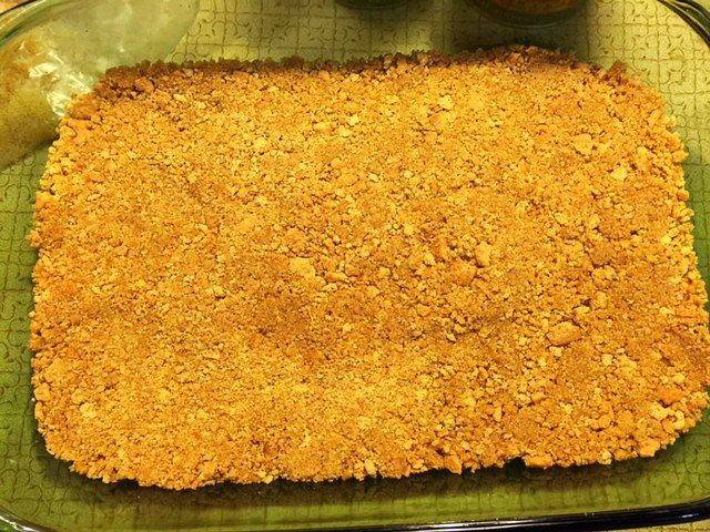 Press Graham Cracker Crumbs into Pan