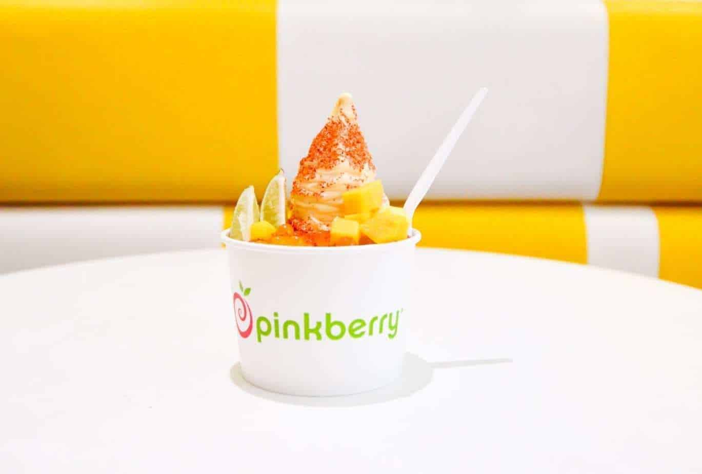 Pinkberry frozen yogurt on a table