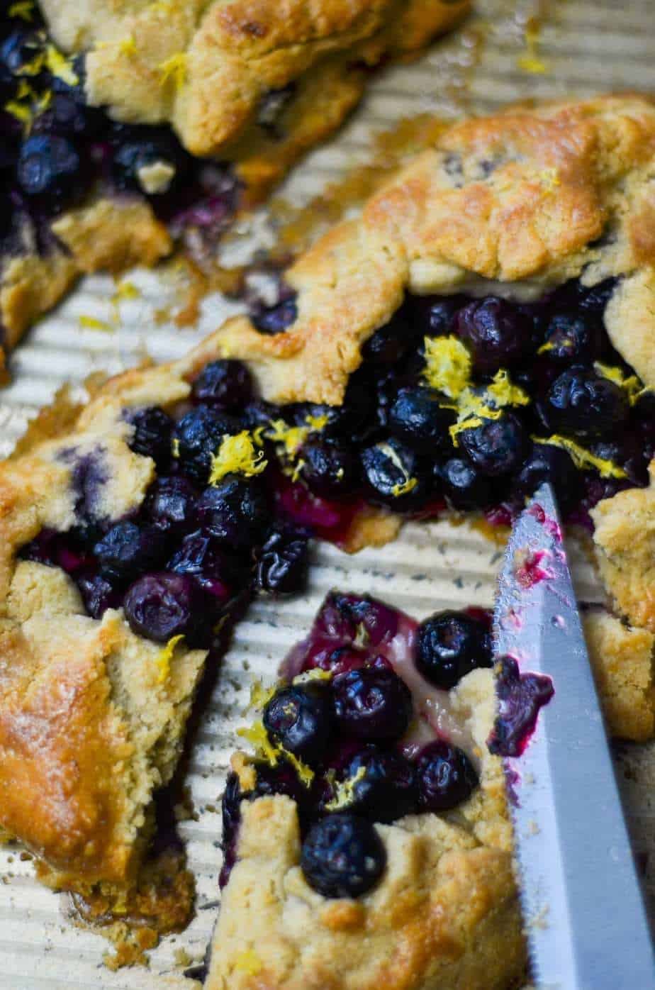 Flaky pie crust with a blueberry galette.