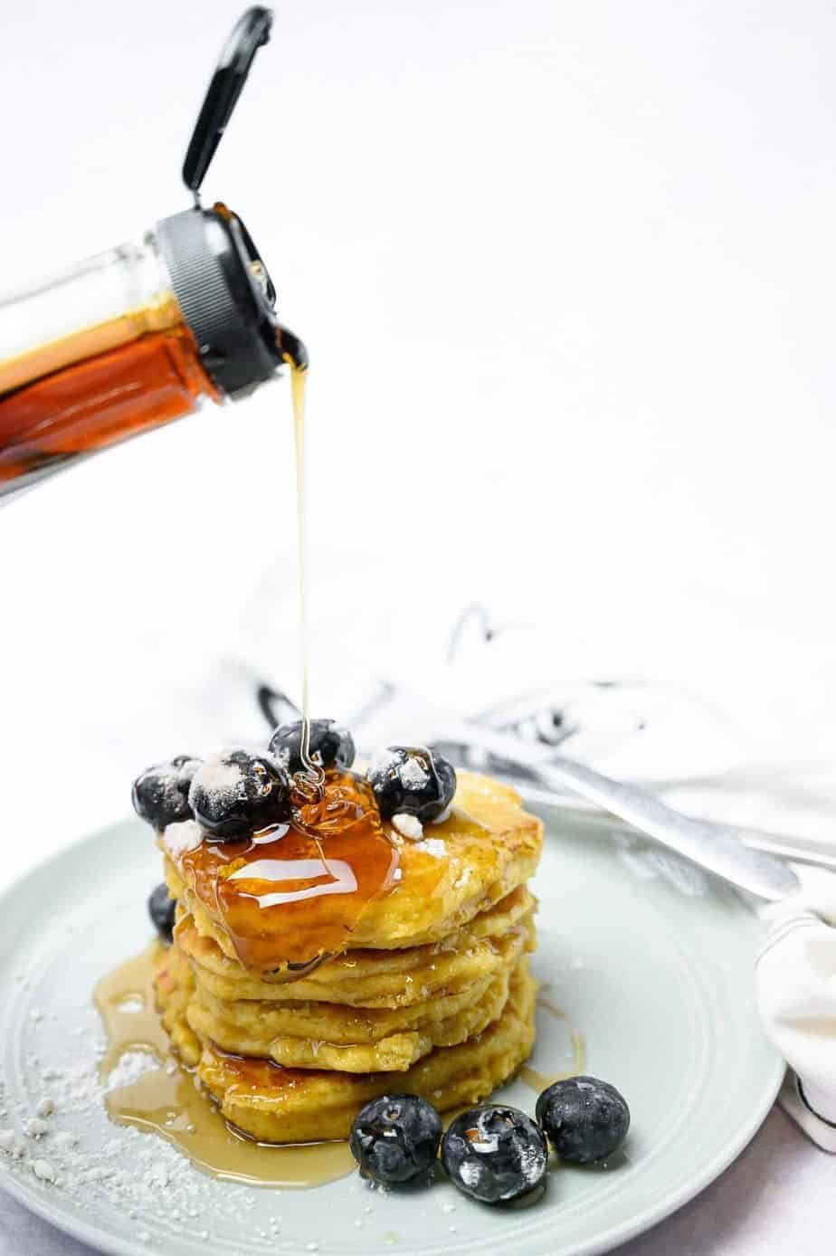 Almond Flour Pancakes and Syrup