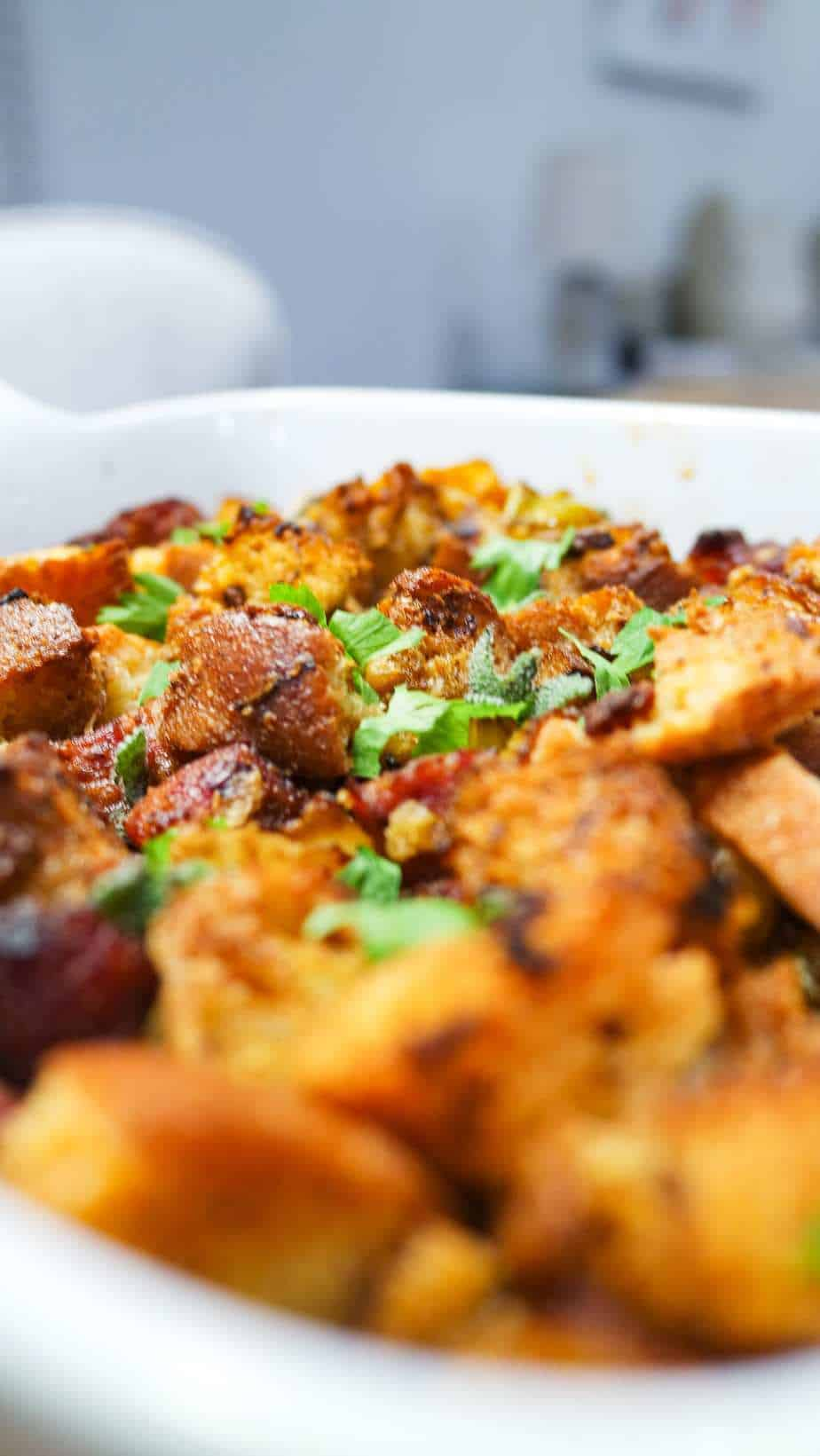 sausage stuffing in a casserole dish