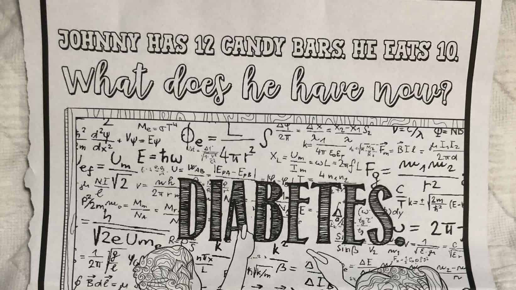 photo of coloring sheet with diabetes joke