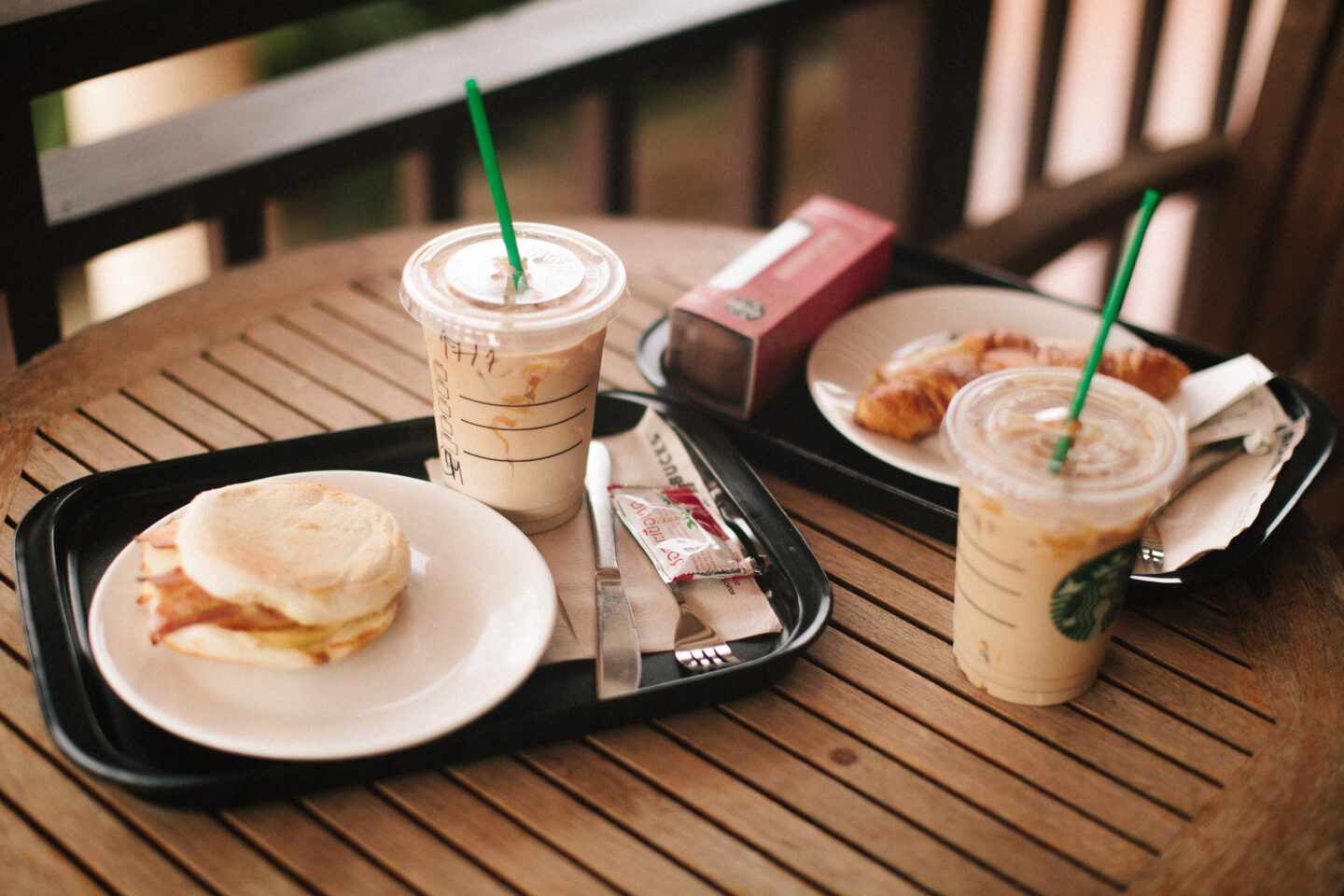 Drinks and food on a table at starbucks