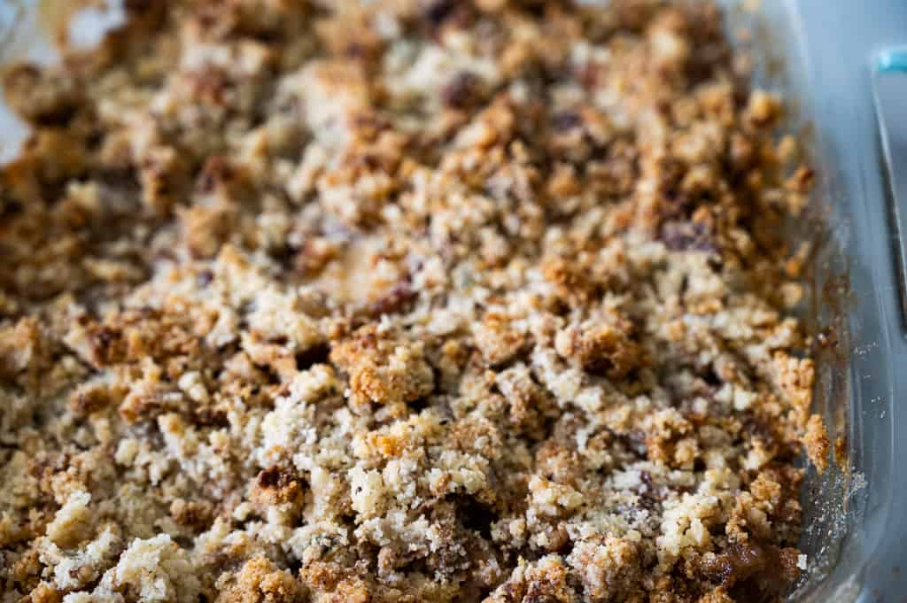 Peach crumble topping