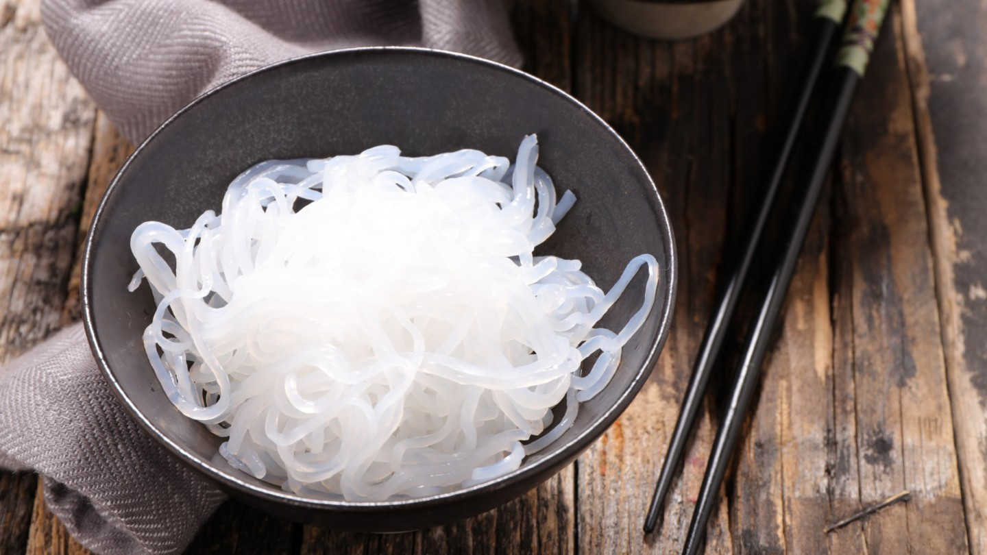 shirataki noodles in a bowl with chop sticks