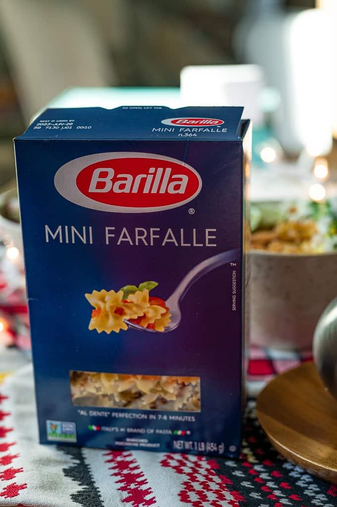 Barilla Mini Farfalle pasta on a table