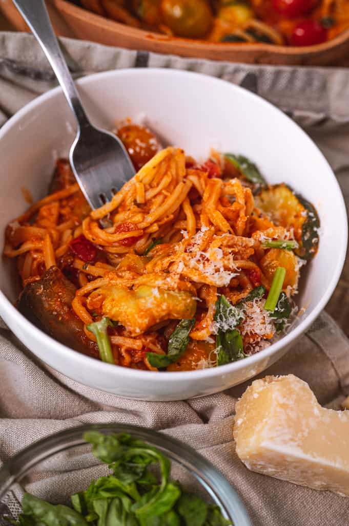 Hearts of palm pasta in a bowl with veggies